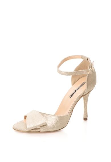 Mihaela Glavan Sandale de piele cu toc inalt si aspect stralucitor Femei