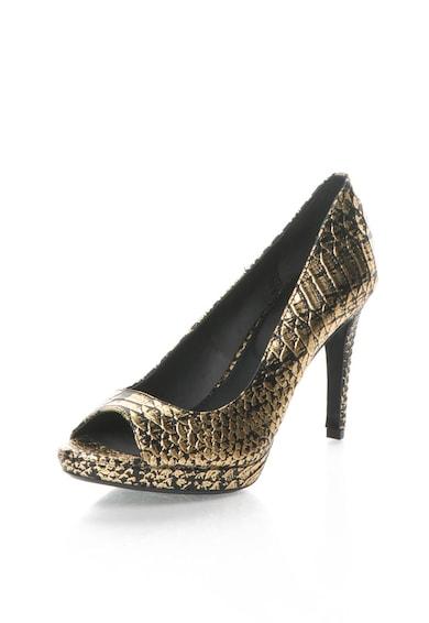 Calvin Klein Pantofi negru cu auriu de piele cu model sarpe Pollina Femei