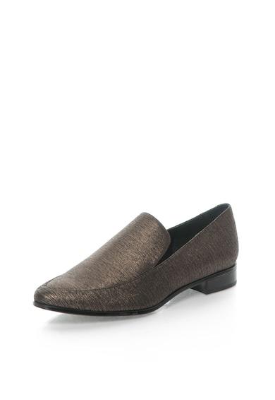 Calvin Klein Pantofi loafer argintii de piele intoarsa Falaina E2549 Femei