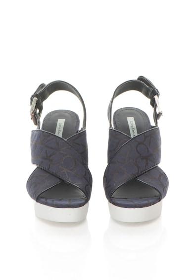Calvin Klein Jeans Sandale wedge albastru cu alb cu logo Elaine Femei