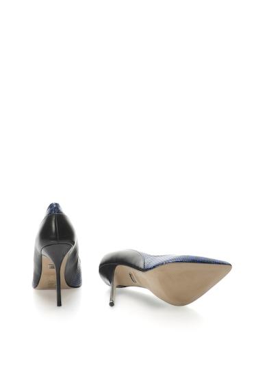 Buffalo Pantofi de piele negru cu albastru si toc cui Femei