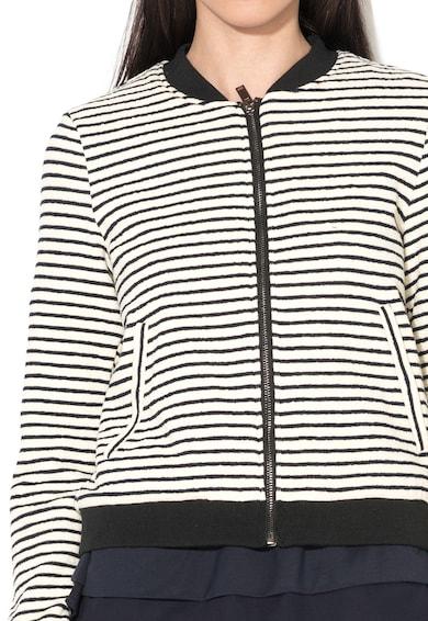 Esprit Jacheta bomber negru cu alb tricotata cu dungi Femei