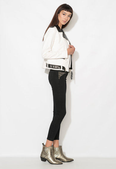 Zee Lane Denim Jacheta alb cu negru de piele sintetica Femei