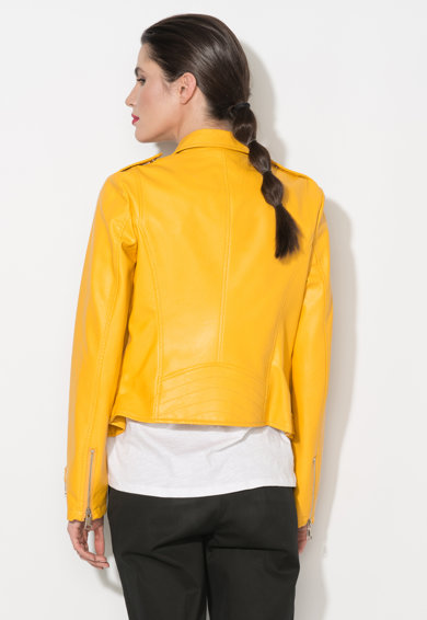 Zee Lane Denim Jacheta biker galben imperial de piele sintetica Femei