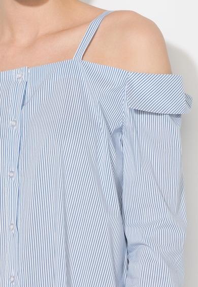 Zee Lane Denim Camasa albastru cu alb si decolteu pe umeri Femei