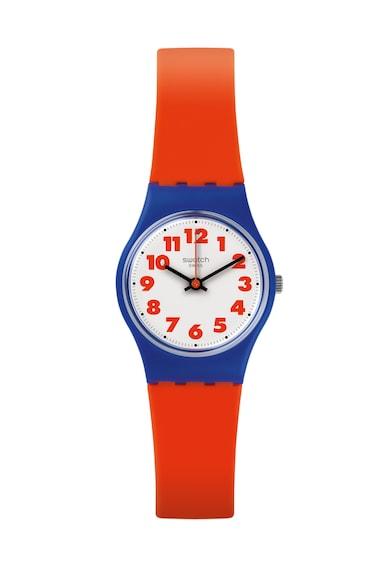 Swatch Ceas rosu aprins cu o curea din silicon Femei