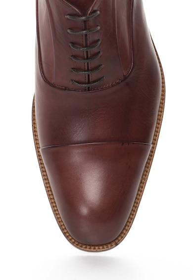Zee Lane Pantofi maro coniac de piele cu aplicatie cap-toe Barbati