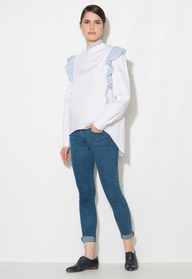 Zee Lane Denim Camasa alb cu albastru in dungi si cu volane Femei