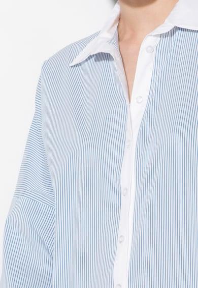 Zee Lane Denim Camasa alb cu albastru in dungi si cu guler dublu Femei