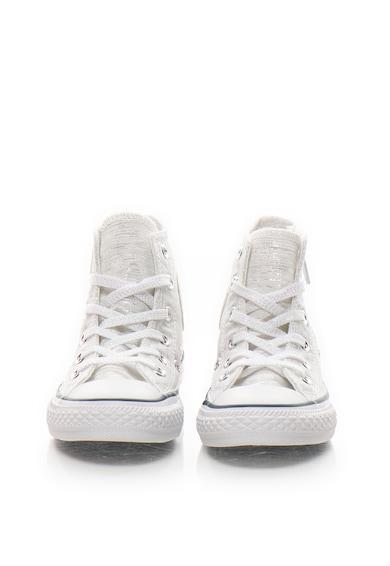 Converse Tenisi inalti alb cu argintiu Stars Hi Fete