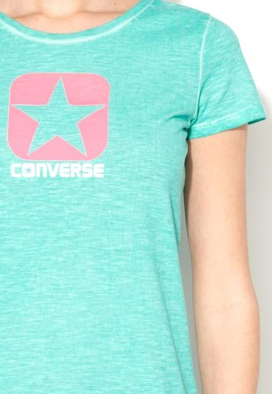 Converse Tricou verde melange cu decolteu la baza gatului si logo Femei