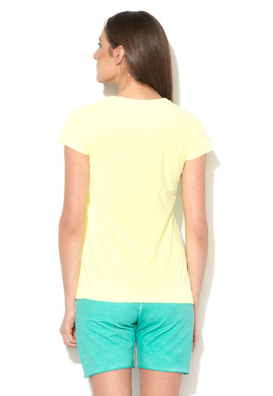 Converse Tricou galben neon cu decolteu la baza gatului si logo Femei