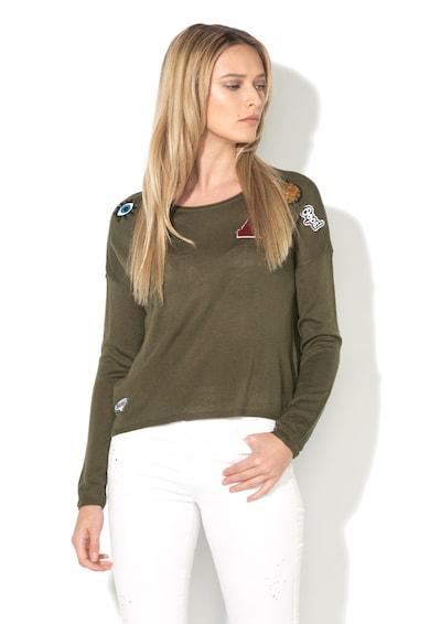 Only Pulover verde militar tricotat fin cu aplicatii Happy Femei