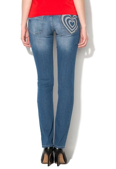 Love Moschino Jeansi crop albastri cu aspect prespalat Femei