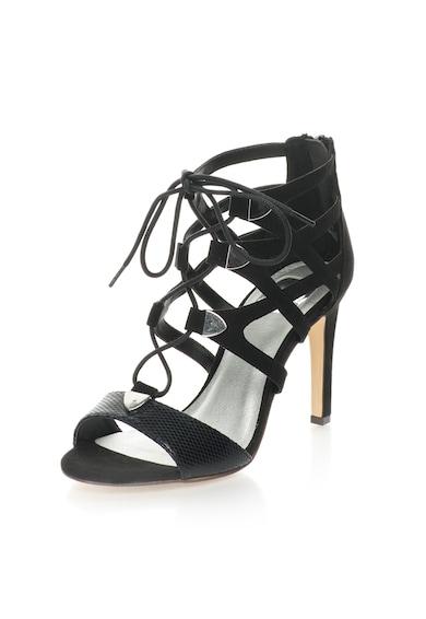 Bullboxer Sandale negre cu barete multiple si insertie cu model reptila Femei