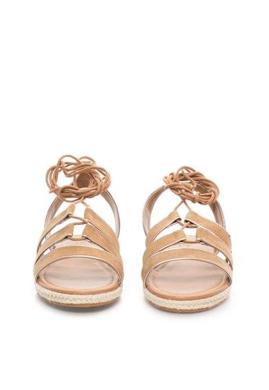 sandale de piele intoarsa sintetica maro camel cu siret venize pepe jeans london pls90237 877. Black Bedroom Furniture Sets. Home Design Ideas
