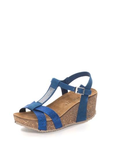 Zee Lane Sandale wedge albastre de piele nabuc Femei