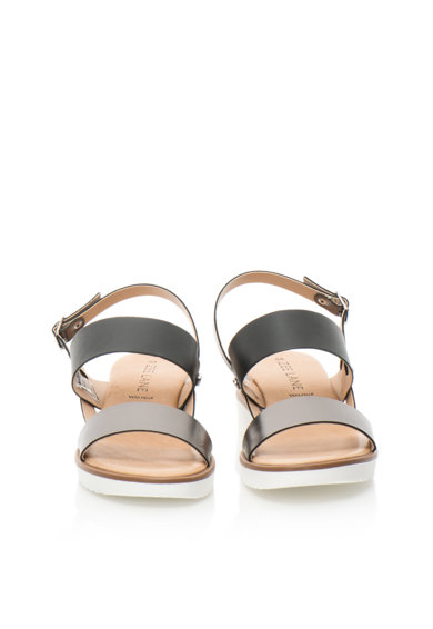 Zee Lane Sandale wedge negru cu argintiu inchis de piele Femei