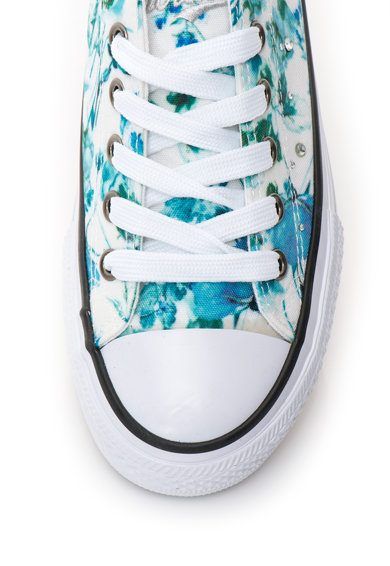 Fiorucci Tenisi flatform albastru si alb cu model floral Femei