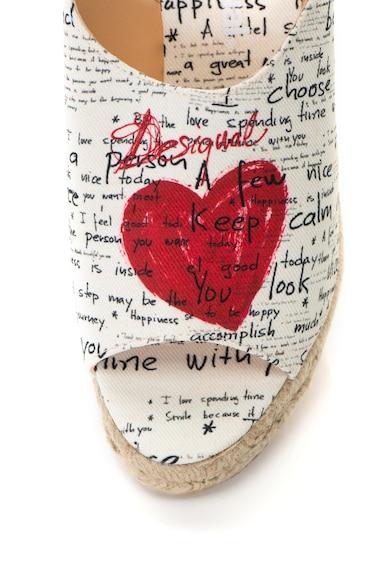 DESIGUAL Sandale wedge bej deschis cu rosu si imprimeu Redonda Femei