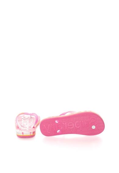 SUPERDRY Papuci flip-flop roz neon cu alb AOP Femei