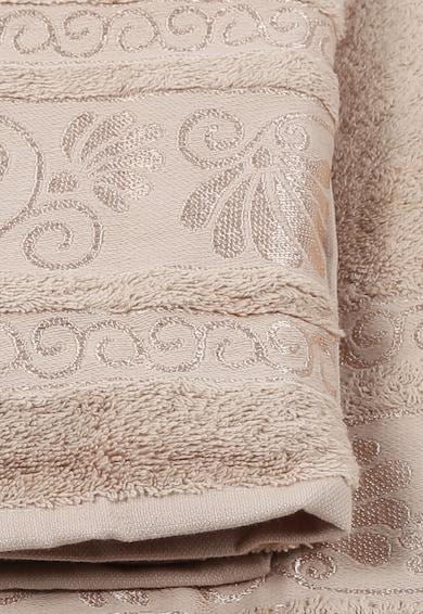 Leunelle Şal Beige Bath Towels Set With Embroidered Pattern - 2 Pieces Femei