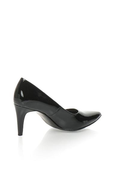 Tamaris Pantofi negri cu aspect lacuit Femei