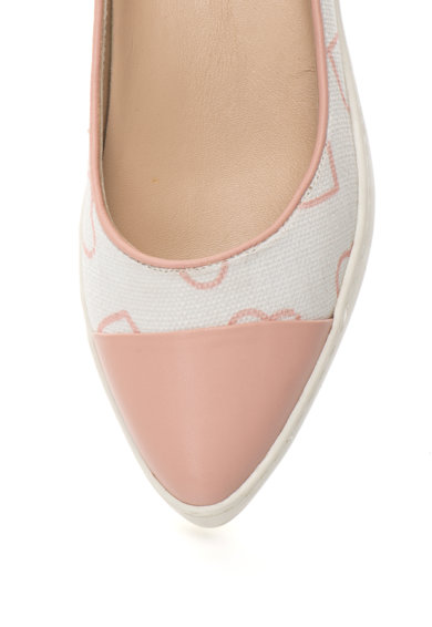 Love Moschino Balerini roz pal cu alb si varf ascutit Femei