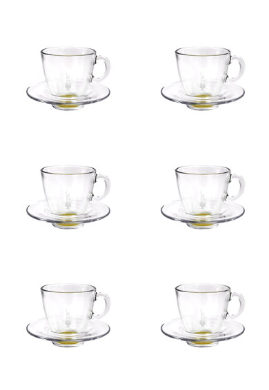 BIALETTI Set de cesti si farfurioare alb transparent cu galben - 12 piese Femei