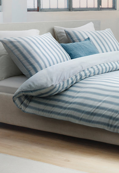 Marc O'Polo Set de pat cu model in dungi Vall, Alb/Albastru Femei