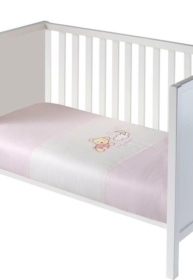 NAF NAF - Linge de maison enfant Cearsaf de pilota roz cu alb Teddy Fete