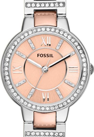 Fossil Ceas argintiu cu auriu rose cu cristale Virginia Femei
