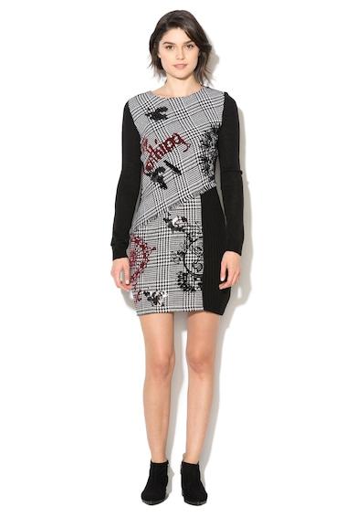 DESIGUAL Rochie tricotata negru cu alb si imprimeu Madrid Femei
