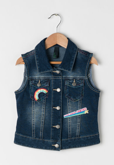 United Colors of Benetton Vesta albastru inchis cu aspect de denim Fete