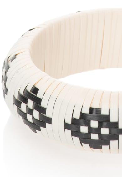 United Colors of Benetton Bratara rigida alb fildes si negru cu model etnic Femei
