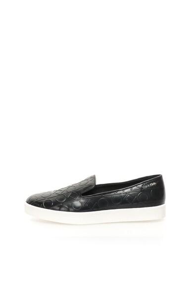Calvin Klein Pantofi slip-on negri de piele Ilaina Femei