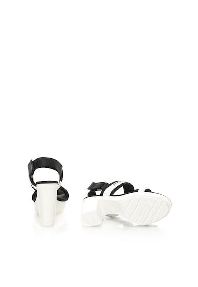 Calvin Klein Jeans Sandale negru si alb cu toc masiv Lalita Femei