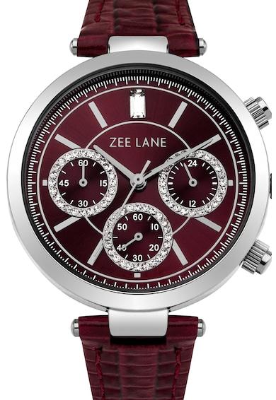 Zee Lane Collection Ceas cronograf cu o curea de piele, Rosu Bordeaux Femei