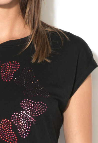 DESIGUAL Tricou corai cu strasuri Femei