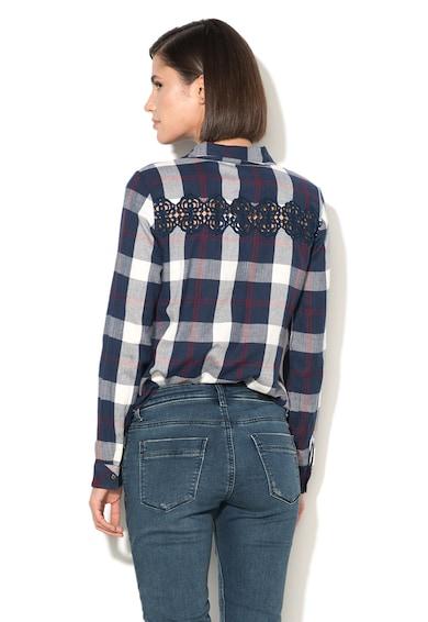 EDC by Esprit Camasa tip tunica din flanel in carouri si cu detalii crosetate Femei