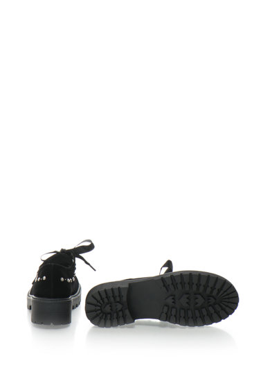 Laura Biagiotti Pantofi derby de catifea cu toc masiv si cu strasuri Femei
